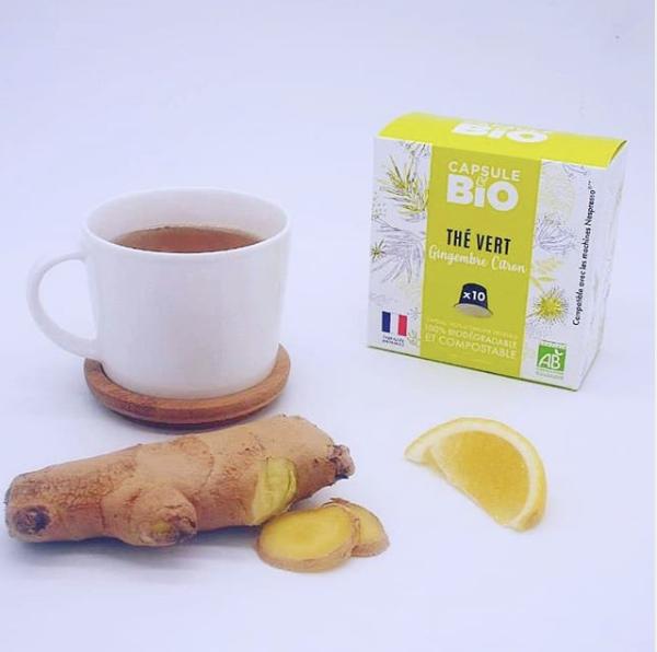 capsule thé vert gingembre citron