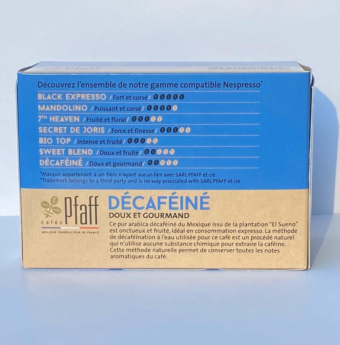 capsule café décaféiné sans solvant pur arabica du Mexique cafés Pfaff