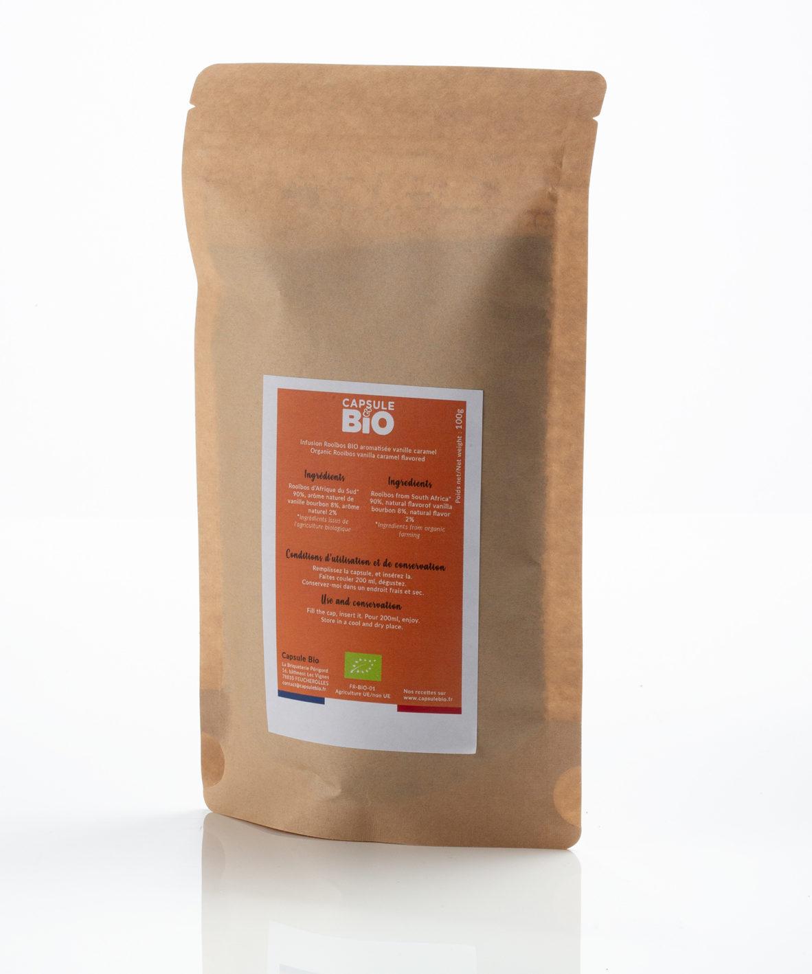 Capsulebio sachet infusion en vrac recette rooibos bio caramel