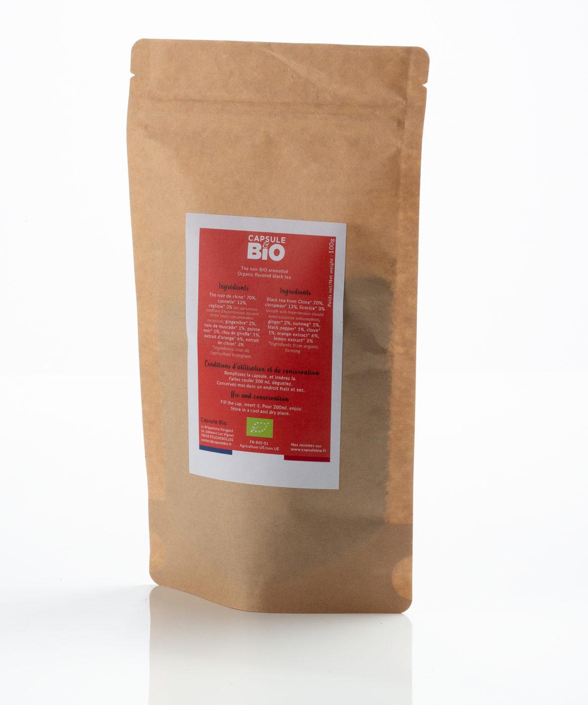 Capsulebio sachet thé en vrac recette thé noir chaï bio