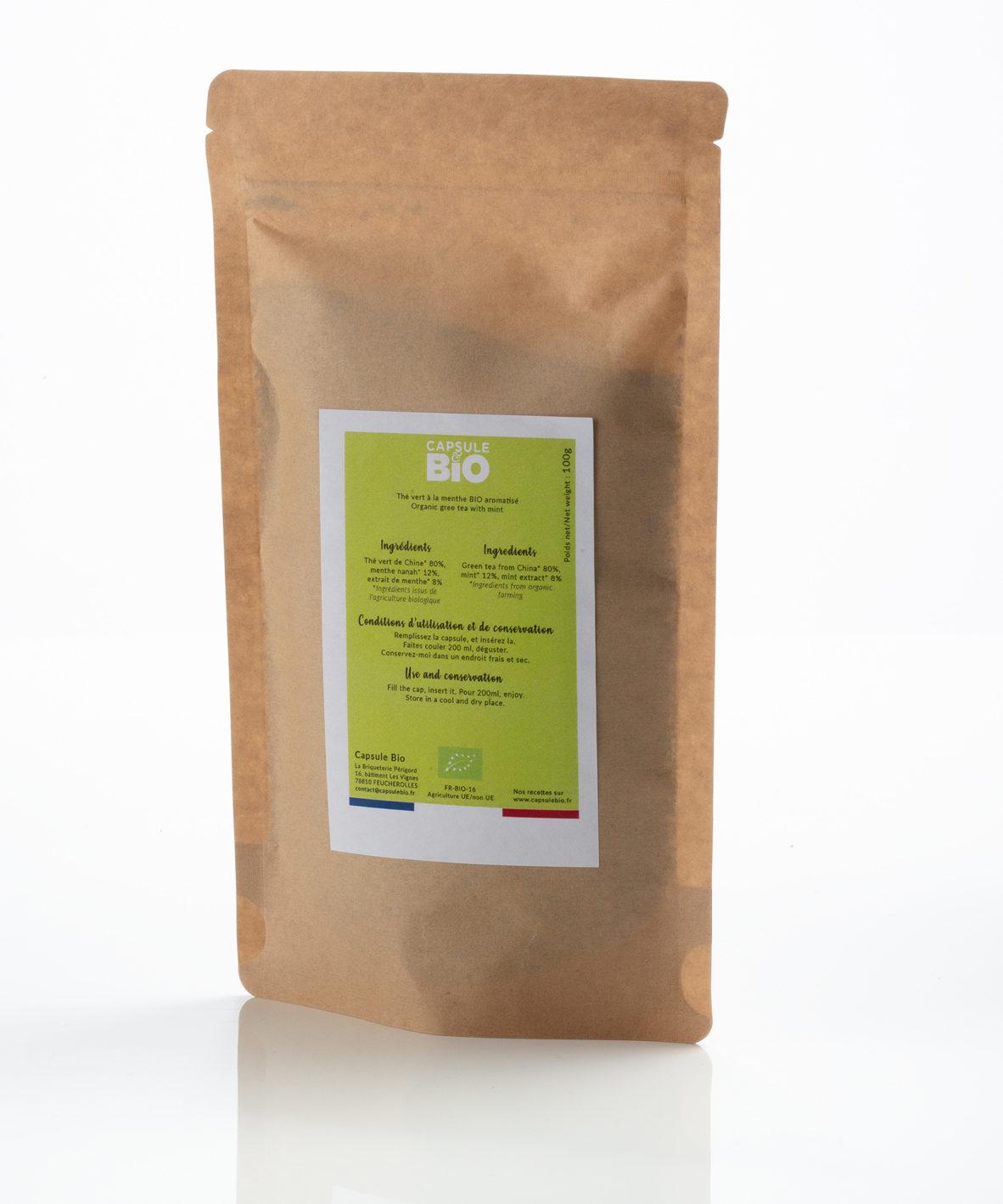 Capsulebio sachet thé en vrac recette thé vert menthe bio